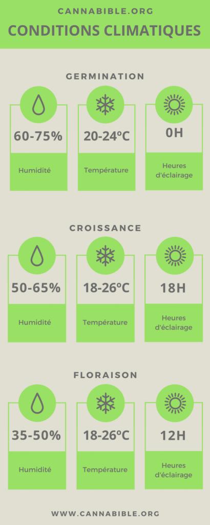 Infographie des Conditions Climatiques et d'Éclairage pour la Culture de Cannabis en Intérieur