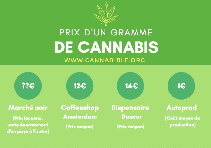 Infographie du Prix du Cannabis par Gramme